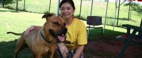 Debbie Wan and Pecan the pitbull