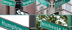 George St, Chapel St, Orange St, Humphrey St, Hillhouse Ave