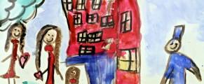 A watercolor inside the Elizabeth Celotto Child Care Center