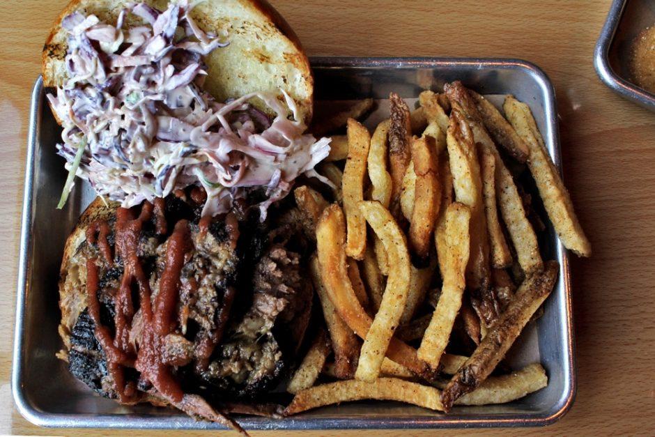 Brisket Sandwich and Cajun Fries at Bull & Swine
