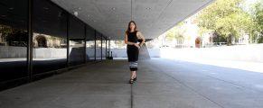 Nancy Kuhl outside Beinecke Library