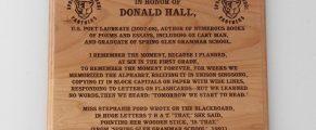 Donald Hall plaque at Spring Glen Elementary School